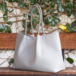 Oprah's Pick: LIGHT GRAY NAPA VEGAN LEATHER TOTE